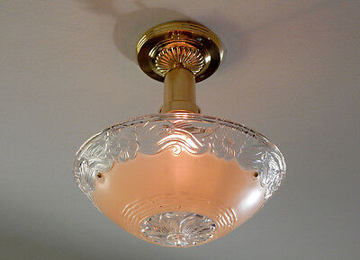 Vintage War Era Beaded Ceiling Light Antique Glass Shade New Brass Fixture