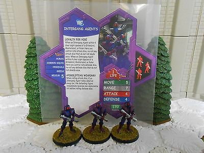 Heroscape Custom Intergang Agents Double Sided Card & Figures  w/ Sleeve DC