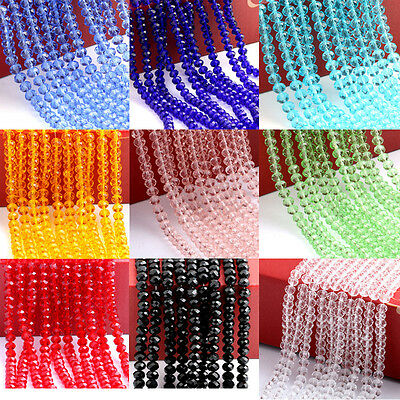 Lots Rondelle Faceted Crystal Glass Spacer Loose Bead Jewelry Finding 4/6/8/10MM