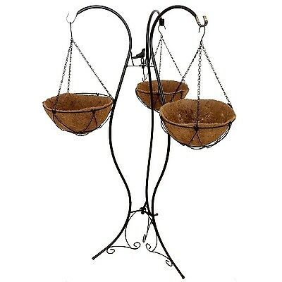 """Gardener Select LU1605 Three Arm Plant Stand with Four Baskets 51"""" Black"""