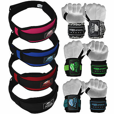 Weight Lifting Training Gym Belt Wrist Support Wraps Bandages Fitness Straps Set