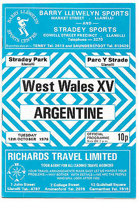 1976 - West Wales XV v Argentina, Touring Match Programme.