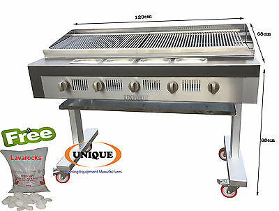 Unique 5 Burner Gas Chargrill Charcoal Heavy Duty for Commercial Use - INC VAT