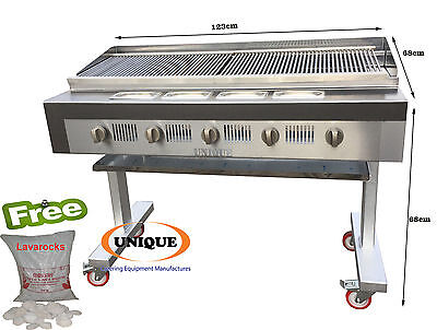 Unique 5 Burner Gas Chargrill Charcoal Heavy Duty for Commercial Use