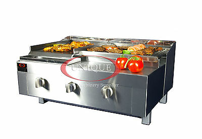 Unique 3 Burner Gas Charcoal Grill Chargrill Heavy Duty for Commercial Use