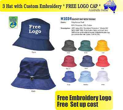 3 Custom Embroidered Bucket Hats * FREE LOGO Embroidery * TEAM CAP SPORTS 701