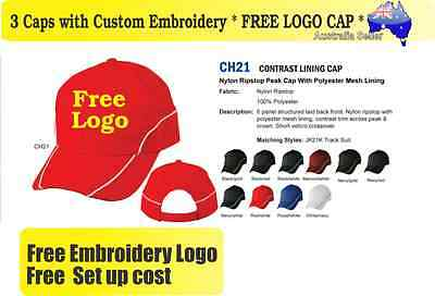 3 Custom Embroidered Caps Hats * FREE LOGO Embroidery * Racing CAP Sports 710