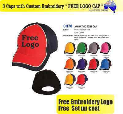 3 Custom Embroidered Caps Hats * FREE LOGO Embroidery * TEAM CAP SPORTS 721