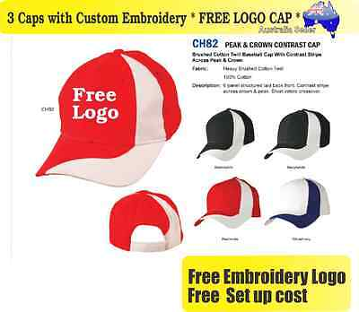 3 Custom Embroidered Caps Hats * FREE LOGO Embroidery * Racing CAP Sports 708