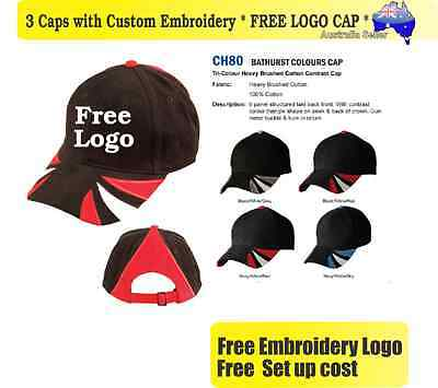 3 Custom Embroidered Caps Hats * FREE LOGO Embroidery * TEAM CAP SPORTS 713