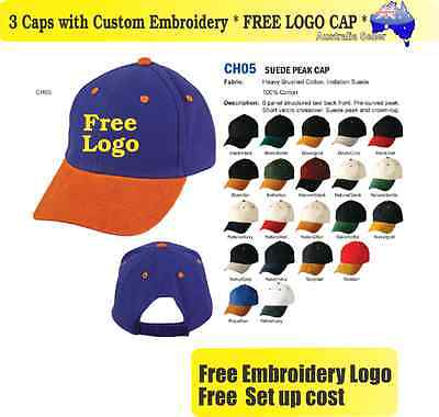3 Custom Embroidered Caps Hats * FREE LOGO Embroidery * TEAM CAP Sports 716