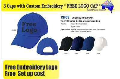 3 Custom Embroidered Caps Hats * FREE LOGO Embroidery * Racing CAP Sports 709