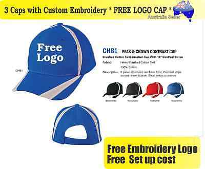 3 Custom Embroidered Caps Hats * FREE LOGO Embroidery * Racing CAP Sports 707