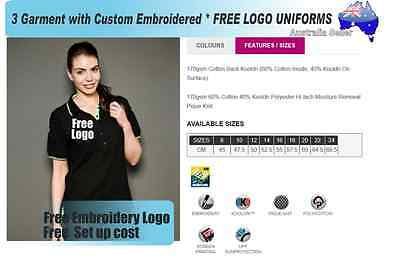 3  x  Custom Sports Polo wirh Your Embroidered * FREE LOGO UNIFORMS POLO 735
