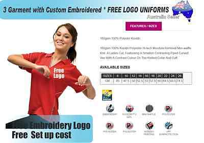 3  x  Custom Sports Polo wirh Your Embroidered * FREE LOGO UNIFORMS POLO 725