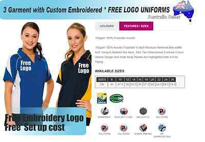 3  x  Custom Sports Polo wirh Your Embroidered * FREE LOGO UNIFORMS POLO 727
