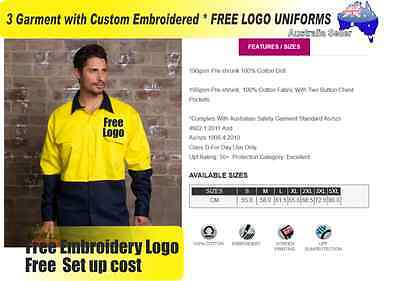 3  x HI VIS  Work shirts with Your Embroidered *FREE  LOGO  WORKWEAR  737