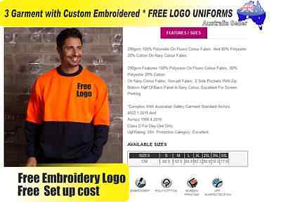 3  x HI VIS  Work shirts with Your Embroidered *FREE  LOGO  WORKWEAR 740
