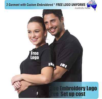3  x  Custom Sports Polo wirh Your Embroidered * FREE LOGO UNIFORMS POLO 732