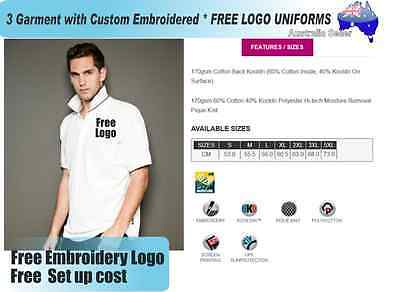 3  x  Custom Sports Polo wirh Your Embroidered * FREE LOGO UNIFORMS POLO 733