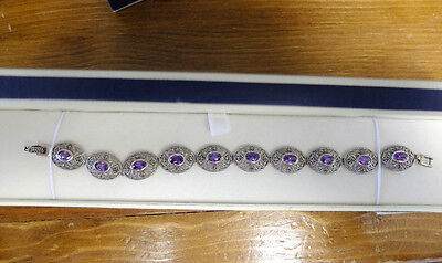 Marcasite 925 Sterling Silver Oval Bracelet with Authentic Purple Amethist Gems