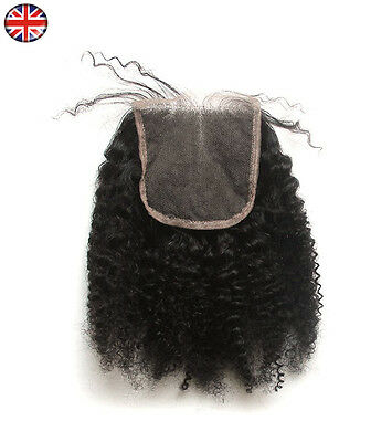 """Afro Kinky Curl Hair Parting Top Closure 6A Brazilian Remy Human Hair 4x4"""" Lace"""
