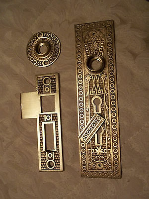 Solid Brass Victorian Double Keyhole Backplate, Strike Plate & Rosette, Free S/H