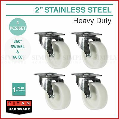 "4x 2"" Heavy Duty Castor Wheels Caster Trolley Bed Swivel Furniture Industrial"