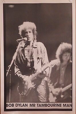 MUSIC POSTER~Bob Dylan Mr. Tambourine Man On Stage Heartbreakers Mike Campbell~