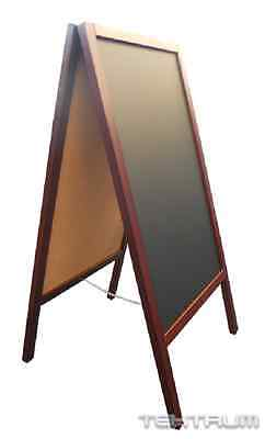 "TEKTRUM DOUBLE-SIDE SIDEWALK A-FRAME WOOD MAHOGANY SANDWICH SIGN BOARD 20"" x 40"""