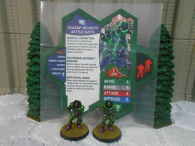 Heroscape Custom Lexcorp Security Battle Suits Dbl Side Card Figures & Sleeve DC