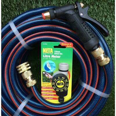"Garden Flexible 40M Water Hose 1/2"" - 12MM  Ryset Brass Fittings & Pistol"