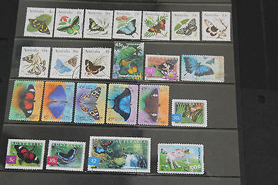 Bulk Lot Aust Butterfly Themed Stamps X 23 All Dif.,1984-2004 Sets & Singles F/u