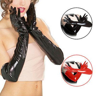 Sexy Women Pole dancing Long Gloves Enamel Leather Wet Latex Party Opera Costume