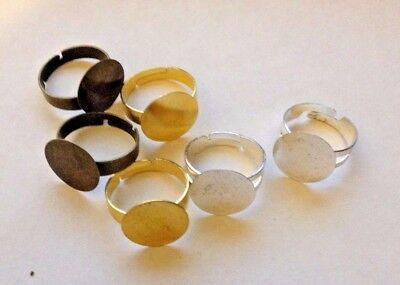 Ring Blanks - 15 mm Pad - Silver Bronze Gold Plated - Pack of 10