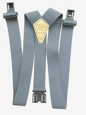 """1 1/2"""" & 2"""" Gray Suspenders - Perry style clips"""