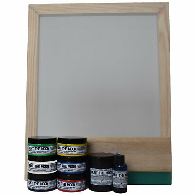 Hunt The Moon Screen Printing Kit Frame Squeegee Ink & Jacquard Photo Emulsion