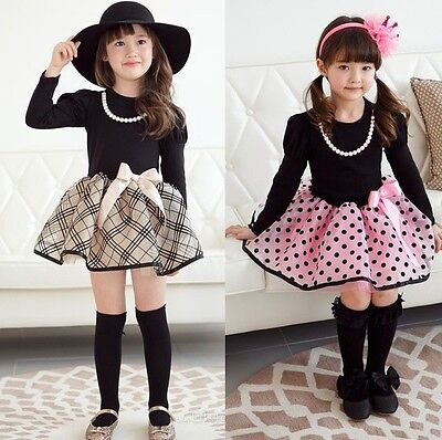 Cotton Kids Baby Girls Dress Bow Tutu Polka Dot Plaid Party Formal Dresses 2-7Y