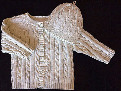 Elegant Baby Gender Neutral Cardigan Sweater & Cap New 3-6 Months Light Green