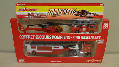 Vintage Majorette Fire Rescue Set #960 in Package! Transports/Super Movers!
