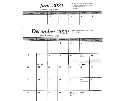 1 - 2 Year Pocket Calendar Planner 2020-2021 Insert Only -No Cover