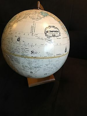 Vintage Globemaster 12 Inch Diameter Replogle Globe - Raised Relief - Wood Base