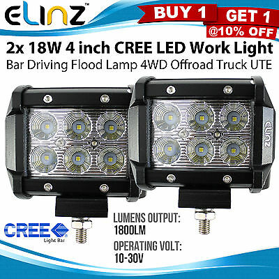 2x 18W 4inch CREE LED Work Light Bar Driving Flood Lamp 4WD Offroad Truck UTE 4""