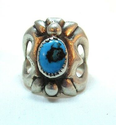 Vintage Sterling Silver Turquoise Very Unique Biker Ring