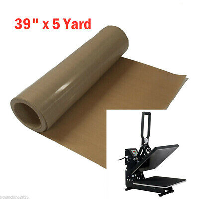 """39"""" x 5 Yard Teflon Fabric Sheet Roll 5Mil Thickness for Sublimation Printing"""