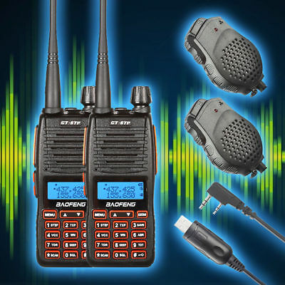 2x Baofeng GT-5TP 8W 136-174/400-520 Dual Band Two way Radio + 2x Speaker &Cable
