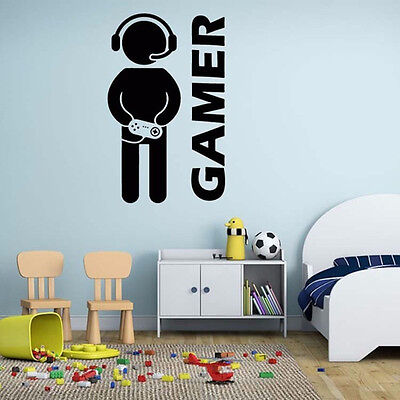 Games Gamer Quote Wall Stickers Art Dining Room Removable Decals DIY