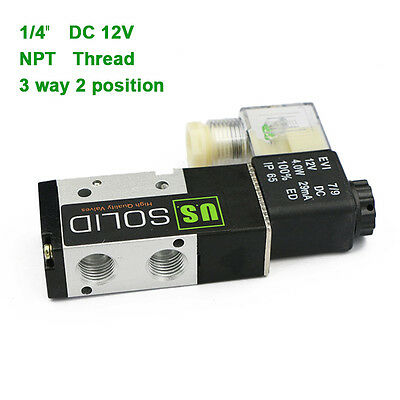 "U.S.Solid® 1/4"" NPT 3 Way 2 Position Pneumatic Electric Solenoid Valve DC 12 V"