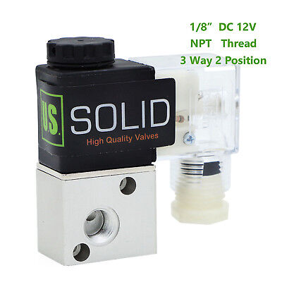 "1/8"" NPT 3 Way 2 Position Pneumatic Electric Solenoid Valve DC 12V"
