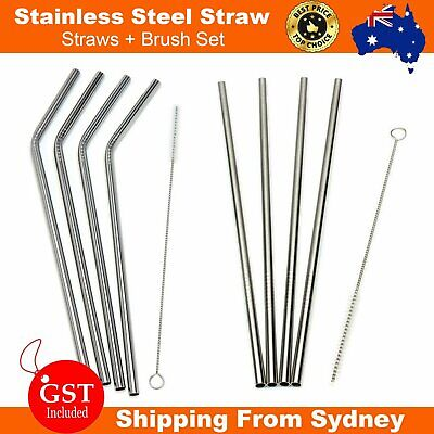 Stainless Steel Metal Drinking Straw Straws Bent Reusable Washable + Brush Set A